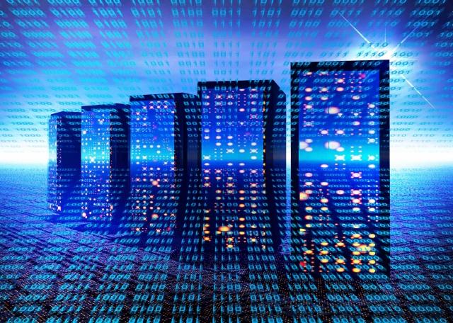 デジタル空間内にある5台のサーバー